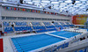 Olympic pool Beijing, China 2013.  Three vertical photos from point and shoot camera were put together in Photoshop for wide angle view.