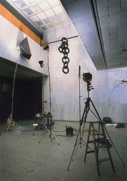 """Set up for the """"Links"""" sculpture for the  Rockefeller book at Empire State Plaza  Albany, NY"""