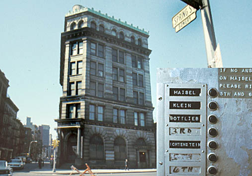 This old German Bank, on the corner of Spring and Bowery in NYC was owned by photographer Jay Maisel who rented floors to artiest Kline, Gottlieb, and Lichtenstein (see doorbell buttons).  I went to there in 1968 working under a grant from the Metropolitan Museum of Art.
