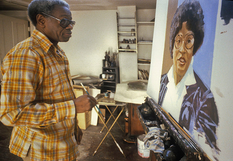 Ernest Crichlow in his studio 1980.