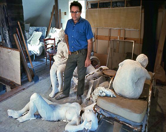 George Segal at home in his second floor studio in NJ.