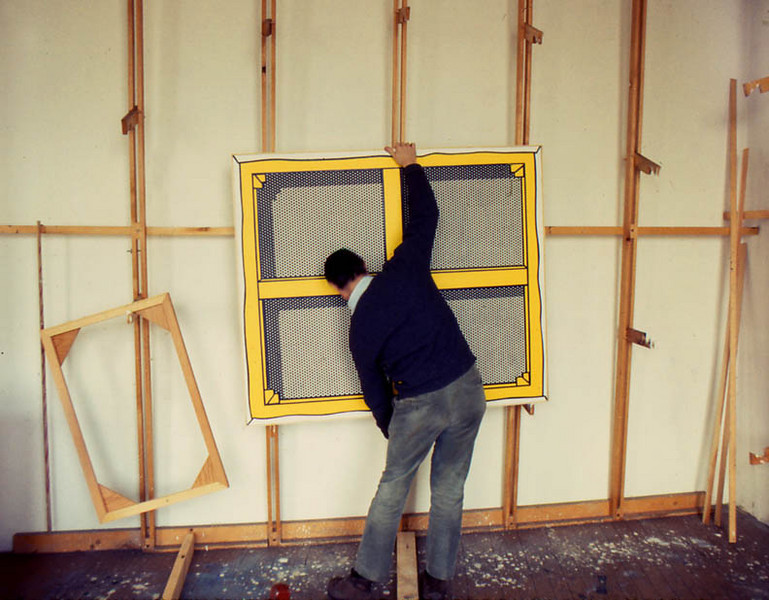 "Roy Lichtenstein hanging ""The Stretcher"""