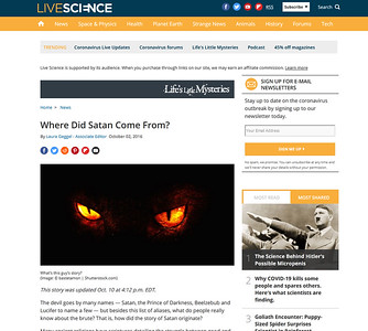 Live Science is supported by its audience. When you purchase through links on our site, we may earn an affiliate commission. Learn more Life's Little Mysteries      Home News   Where Did Satan Come From?