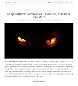 Shapeshifters: Werewolves, Tricksters, Monsters, and More