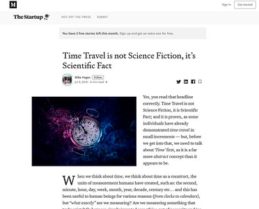 Time Travel is not Science Fiction, it's Scientific Fact
