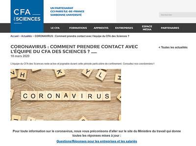 CORONAVIRUS : Comment prendre contact avec l'équipe du CFA des Sciences ?