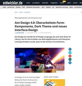 Ant Design 4.0: Überarbeitete Form-Komponente, Dark Theme und neues Interface-Design