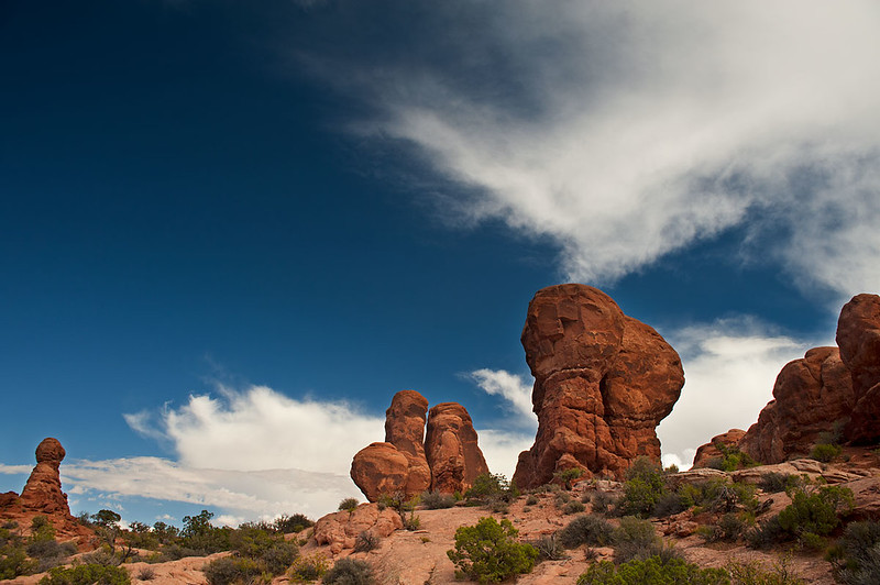 Clouds.Eden's Garden. Arches NP