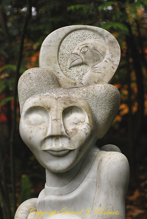 Carving of woman in Big Rock Garden Park, Bellingham