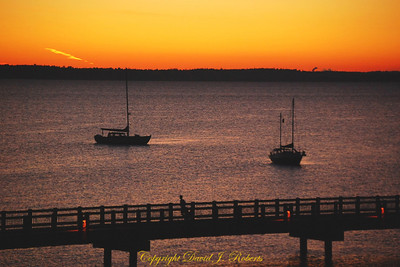 Sailboats and Taylor walkway in sunset, Bellingham WA