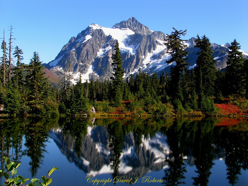 Classic photo of Mount Shuksun with reflection, North Cascade Mountains, Washington