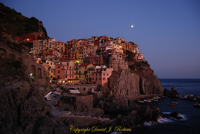 Manarola in the moonlight, Cinque Terre, Italy