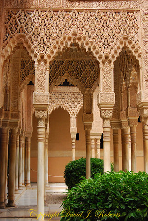 Ornate Columns, Alhambra, Grenada, Spain
