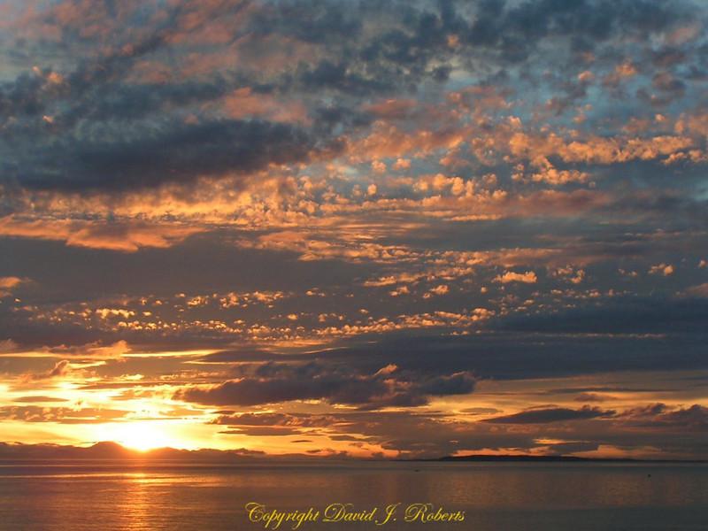 Fantastic sunset sky above Birch Bay WA.