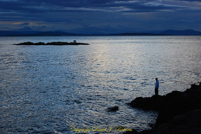A young man ponders the water at San Juan County Park, San Juan Island, Washgton