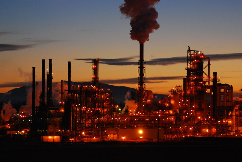 Conoco Phillips refinery at night, Ferndale WA
