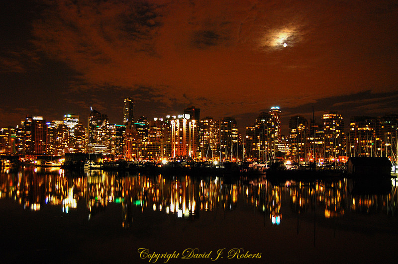 Vancouver B.C. skyline at night.