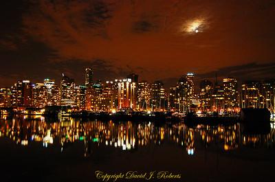 Vancouver B.C. skyline at night.