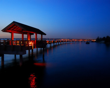 Taylor Dock in the twilight on Bellingham Bay.