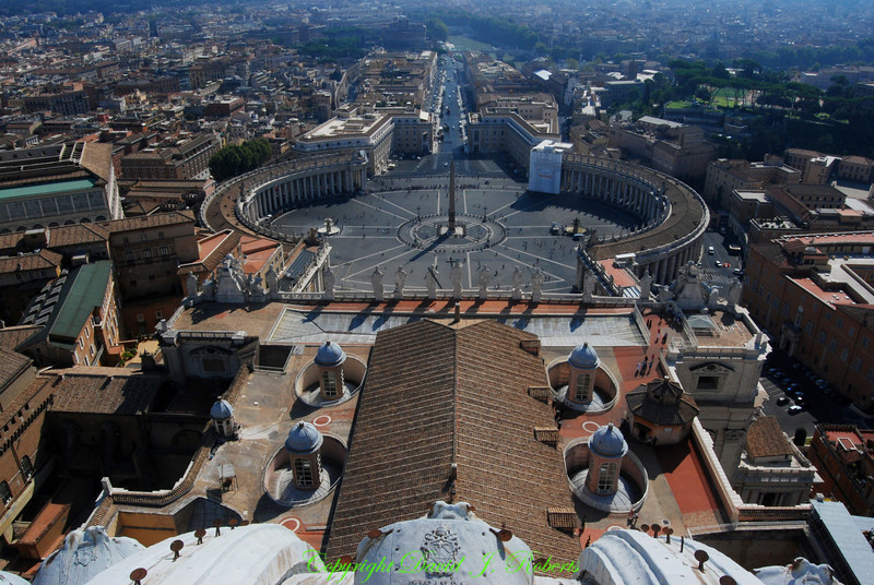 View from top of St Peters Dome, Rome Italy