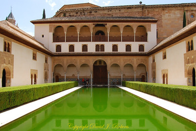 Palace interior and pool, Alhambra, Grenada, Spain