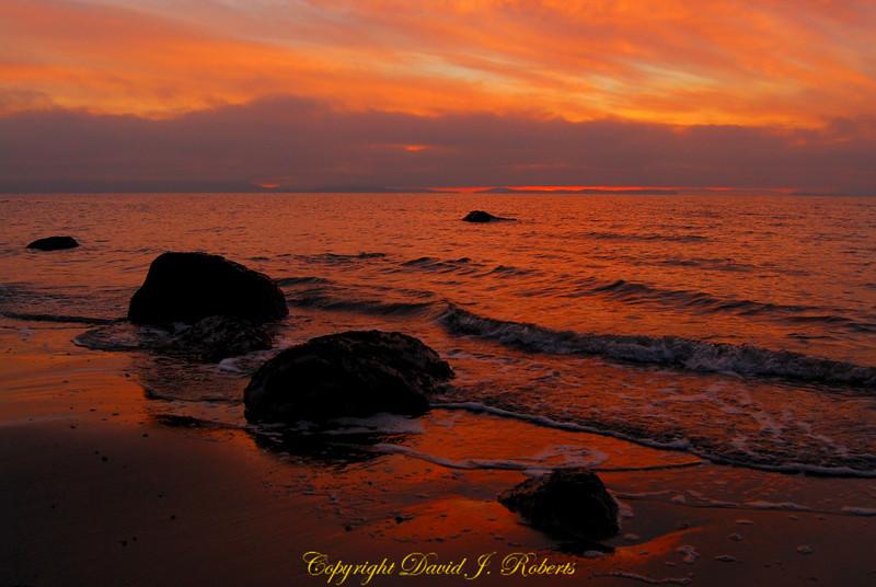 Rocks in the sunset at Neptune Beach, Whatcom County, WA January 19, 2013