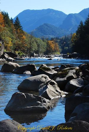 Skykomish River east of Skykomish WA on US Highway 2, Washington
