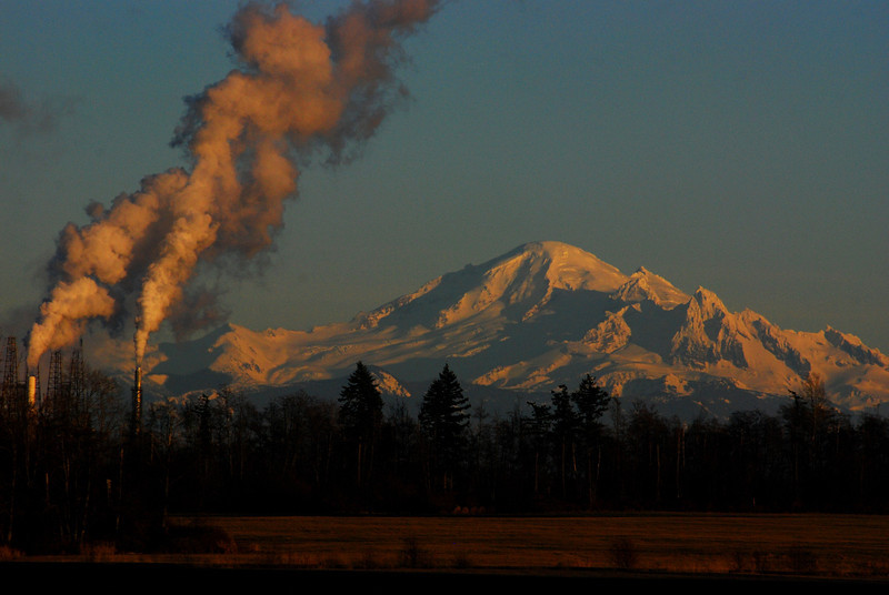 Mount Baker with BP Refinery in the foreground