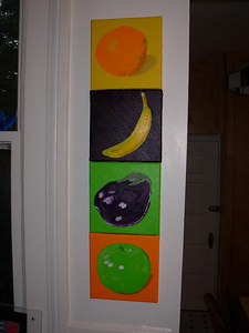 """Four individual pieces, each one measuring 8"""" x 8"""", acrylic on canvas"""