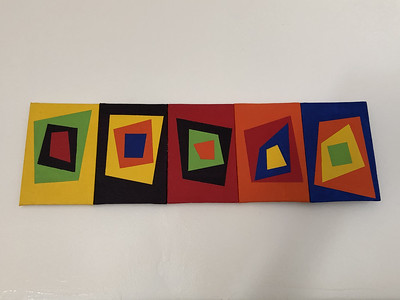 An homage to the work of Albers, 2018  Sorry to say that a lot of masking tape died so that I could make this.