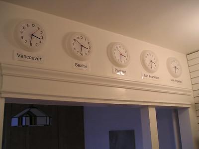 This installation piece of five clocks was in my kitchen.