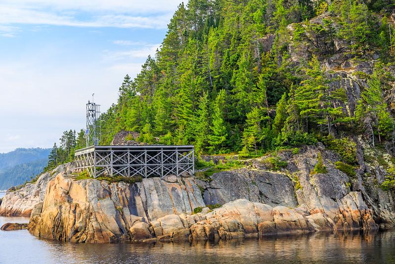 Canada-Quebec-Saguenay Fjord National Park-St. Rose-du-Nord-Lighthouse-Aid to navigation