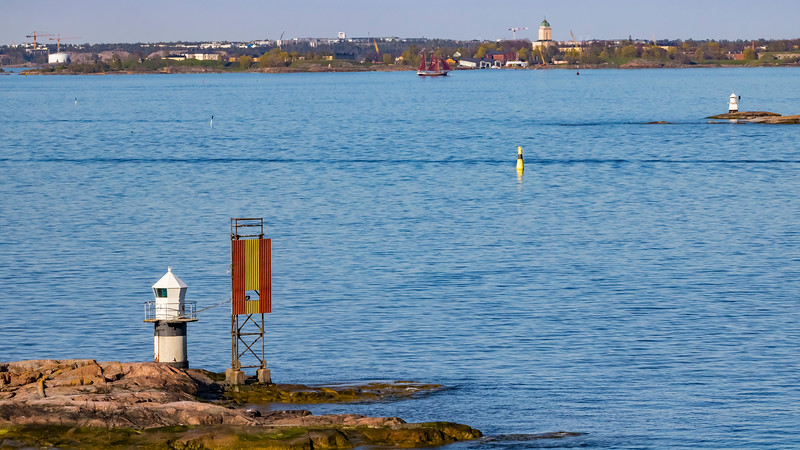 Finland-Helsinki- Koirakari lighthouse and Koirakari Front Range light (sceletal tower)<br /> Lighthouse
