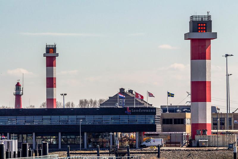 THE NETHERLANDS-HOEK van HOLLAND-FRONT RANGE LIGHT, REAR RANGE LIGHT AND HOEK van HOLLAND LIGHTHOUSE