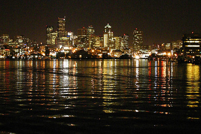 Downtown Seattle, WA: view from Lake Union at night