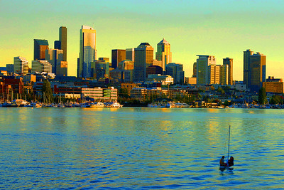 Downtown Seattle:  WA: view from Lake Union