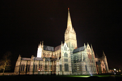 Salisbury Cathedral, UK, at night