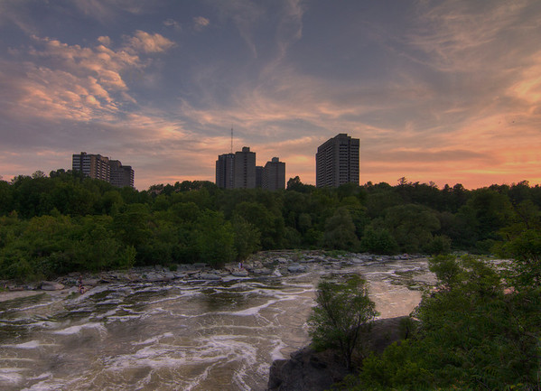 A sunset view from Hog's Back Park in Ottawa.