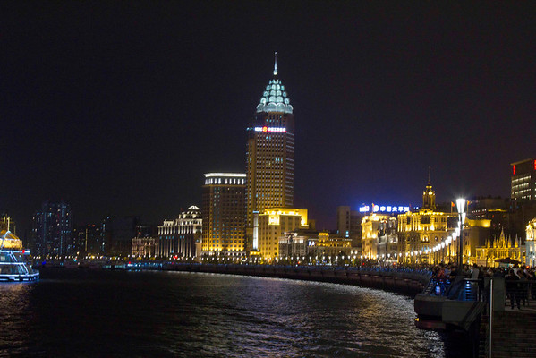 A section of the Bund in Shanghai. Colonial architectures blends in with modern architecture.