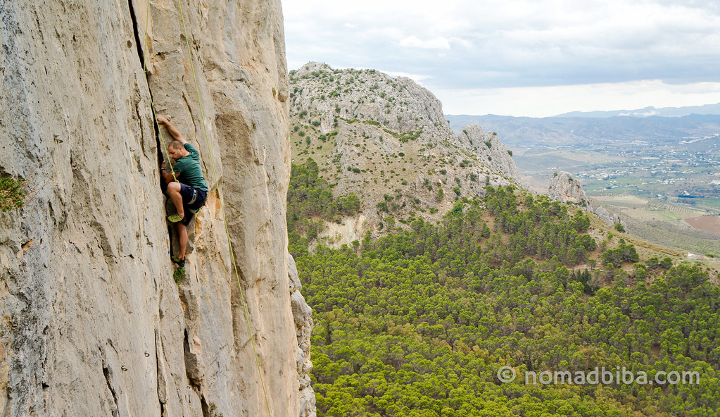 Peter Parkorr rock climbing in El Chorro, Spain