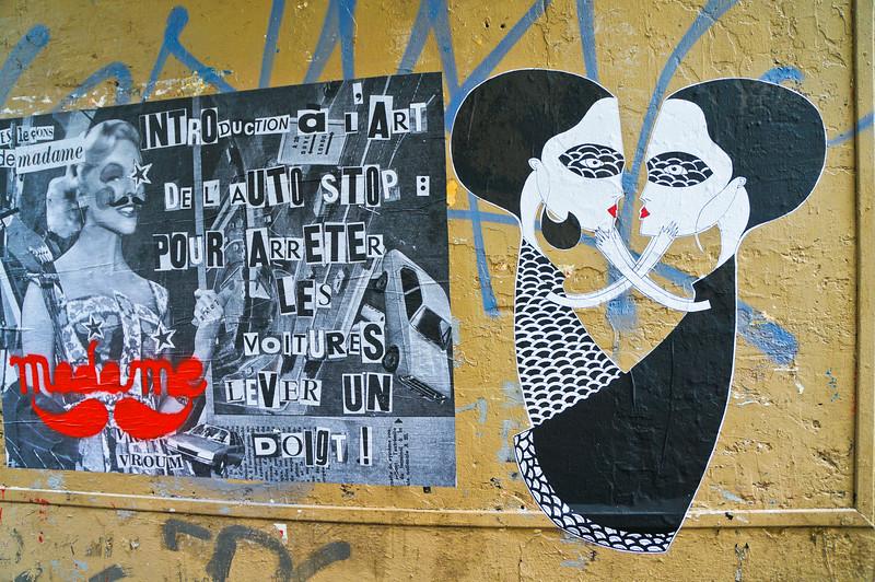 Fred Le Chevalier & Madame Mustache paste up in Paris, France
