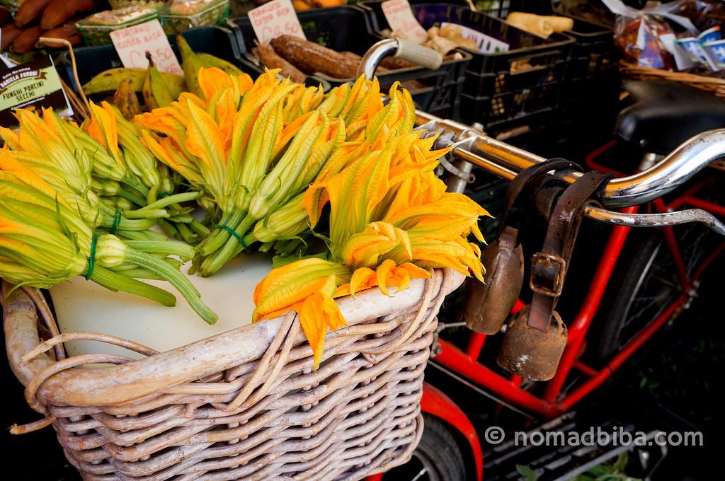 Zucchini flowers at Campo de' Fiori market in Rome, Italy