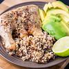 Chicken Maryland, avocado and crunchy quinoa rice