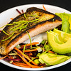 Salmon with avocado and beetroot coleslaw