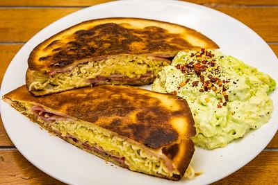 Bacon instant noodle quesadilla with avocado