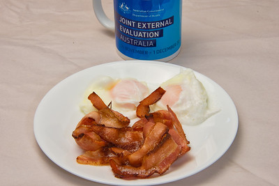 Crispy streaky bacon and poached eggs