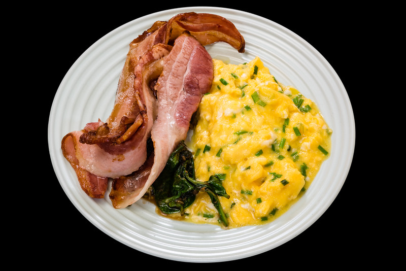 Public holiday streaky bacon with cheesy buttery scrambled eggs and balsamic spinach leaves<br /> #breakfast #yummylummy #foodporn #yummy #delicious #instafood #nikon