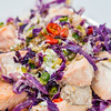 Stir-fried salmon and cabbage salad