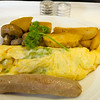 Asparagus omelet with sausage