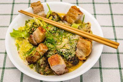 Belly pork with cabbage and Brussels sprouts